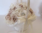 Flower Girl Basket Ivory and Champagne Fabric Flower Satin Bridal Basket with Brooches and Buds Wedding Accessories Bridal