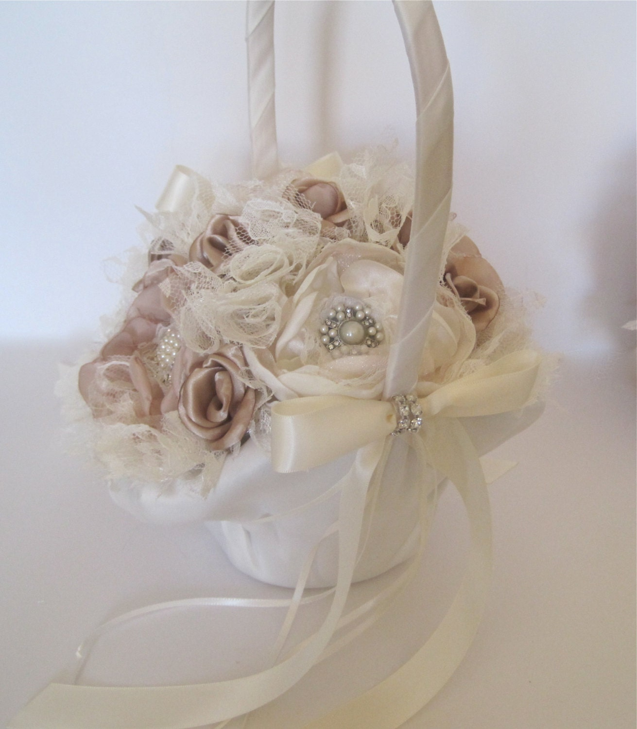 How To Make A Flower Girl Basket With Fabric : Flower girl basket ivory and champagne fabric satin