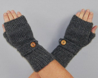 Beautiful hand knitted mittens with wooden buttons. Fingerless gloves for ladies, available in many colours.