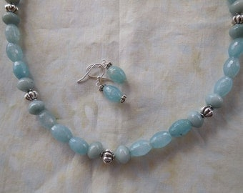 21 Inch Aqua Faceted Amazonite Necklace with Earrings