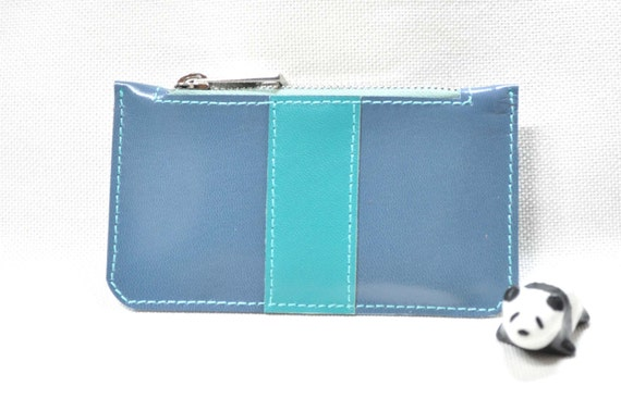 Stone Blue and Turquoise Leather Purse - coin purse - leather wallet - credit card case - business card holder - leather purse - small pouch