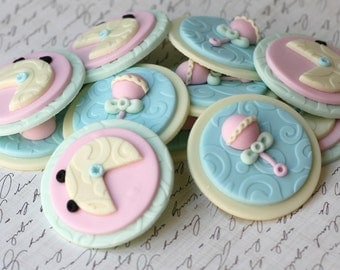 Fondant Cupcake Toppers - Whimsical Gender Neutral Baby Shower Fondant Toppers - Perfect for Cookies, Cupcakes and Other Edible Treats