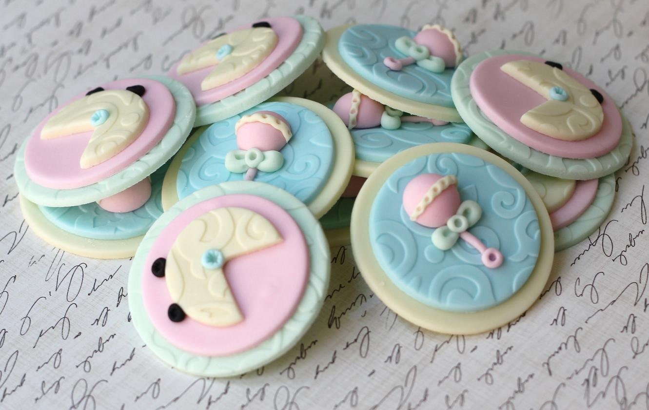 Unisex Baby Shower Cupcakes : Fondant Cupcake Toppers Whimsical Gender Neutral Baby Shower