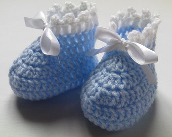 Crochet Baby Booties gift baby blue white satin ribbon