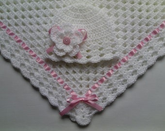 Crochet Baby Blanket and Baby Hat Set Gift Christening Baptism Girl baby white beanie flower pink afghan