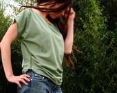 green organic cotton CYPRESS top blouse shirt draped fancy boatneck