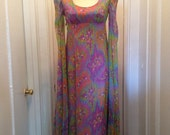 Sale Pucci 1960s Couture Stunning Dress Psychedelic Maxi Amoeba Trippy Print  XS XXS  0 2 4 Fall SALE