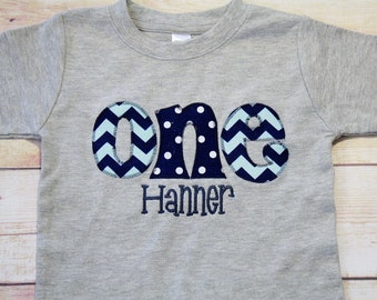 CHEVRON ONE Shirt for Boy's 1st Birthday - Aqua and Navy Blue Chevron and Polka Dot First Birthday Shirt
