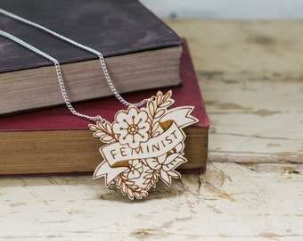 Feminist Floral Wooden Necklace