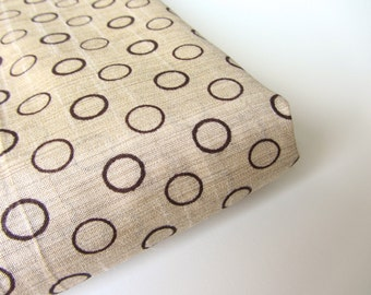 Beige creme brown circles Indian Khadi silk block printed Indian silk fabric nr 404 fat quarter