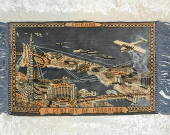 "Chicago 1933 World's Fair Tapestry - Small at 13"" x 25"" - Excellent Condition!"