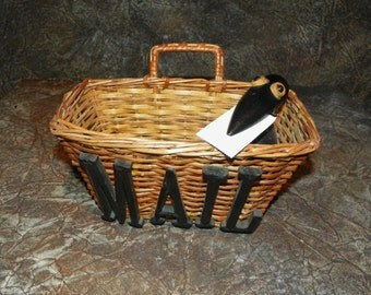 Mail Basket Hanging with Whimsical Black Bird Articulated Head & Beak To Hold Outgoing Mail So Funny