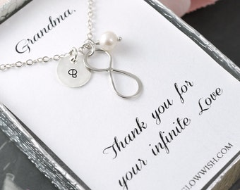 Grandma of the bride gift, Custom initial, Jewelry for grandmother, Nana necklace, Hand stamped, Infinity necklace