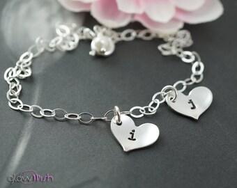Personalized jewelry, Initial bracelet, Custom letters, Two initials, Hand stamped initial, Boyfriend girlfriend jewelry, Mothers bracelet