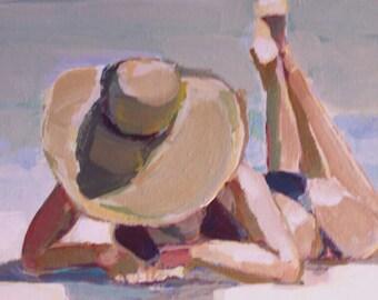 "Original Painting...""Sun on my toes"", 12"" x 12"", beach scene"