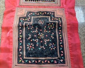 Vintage Hmong baby carrier , Handmade Cross stitch tapestry textiles, hill tribal fabrics from Thailand