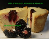 Vegan Delicious Creamy Blackberry Vanilla Plain Baby Cheesecakes, love, animal free cruelty,no eggs,no dairy. Perfect for Valentine's Day.