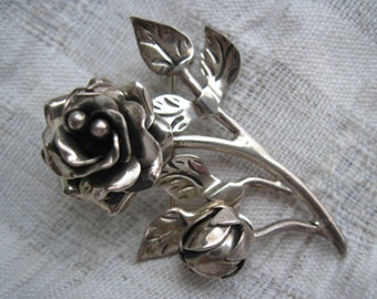 Taxco Mexico Silver Rose Brooch