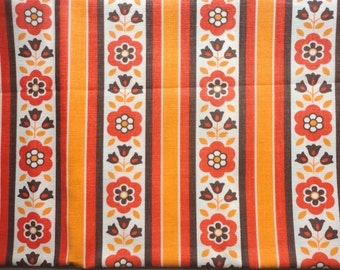 orange and brown floral stripe vintage cotton fabric -- 45 wide by 1 1/3 yards