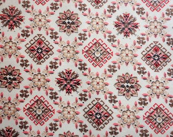 pink, tan and red geometric print vintage cotton fabric  -- 36 wide by 7-8 yards