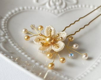 Hair Pin, Beaded Flower Hair Accessory, Ivory Cream & Gold Hair Pin, Wedding Accessory
