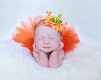 Pumpkin Topper Rosette Halloween Headband (only) - Perfect for Halloween or Pumpkin Patch Pictures