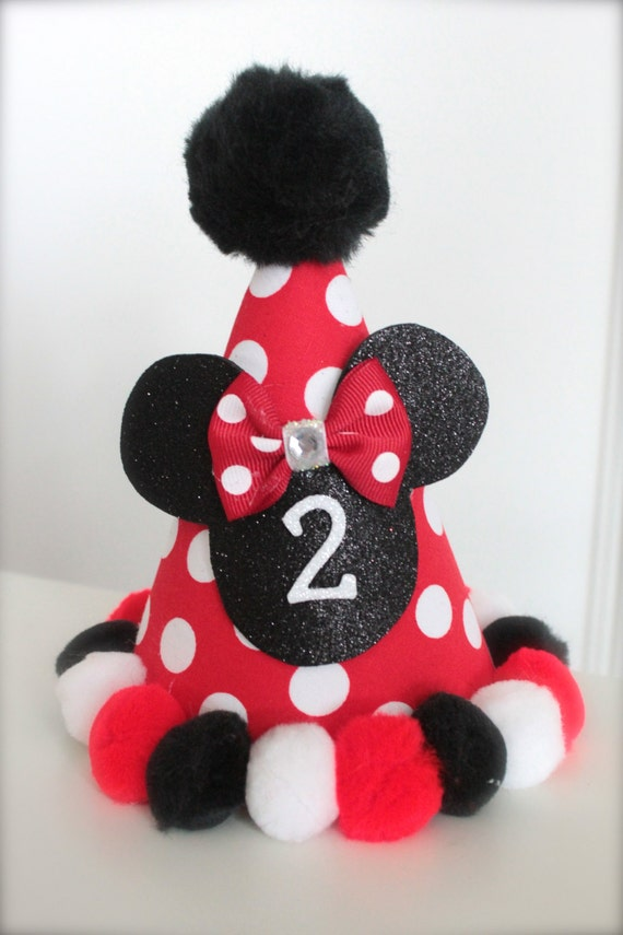 Minnie Mouse Inspired (Red, White and Black) - Custom Party Hat / Headband (pick you colors)