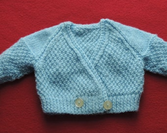 HAND KNITTED Crossover Baby cardigan. (Ready to Ship)