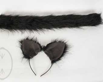 Black Cat Skinny Tail and/or Ears Set, Combo, Costume