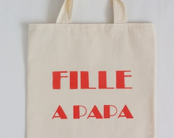 Label tote bag - Fille a Papa  - typographic canvas tote