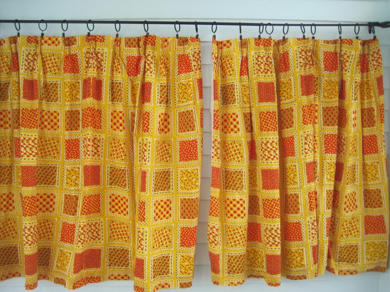 vintage floral curtains vintage red and yellow patchwork. Black Bedroom Furniture Sets. Home Design Ideas