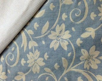 WCMT from grey Jacquard with white flowers and biege cotton straps.