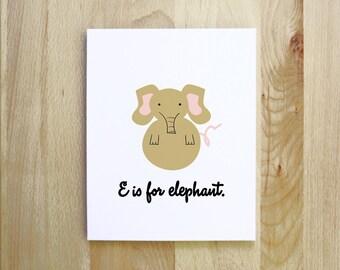 E is for Elephant woodland african safari animal alphabet nursery portrait illustration 8x10 5x7