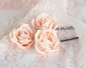 71_Hair flower peach, Bridal hair flower pin, Silk hair flower, Wedding hair flower, Peach hair flower rose, Bridal hair accessories, Peachy