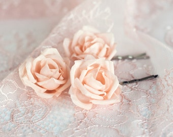 71_Hair flower peach, Bridal hair flower pin, Silk hair flower, Wedding hair flower, Peach hair flower rose, Bridal hair accessories, Peachy