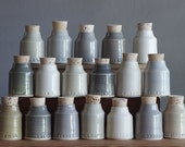 5 custom spice bottles. pottery jar with custom words. modern handmade pottery bottle. Various greys. read item details before ordering