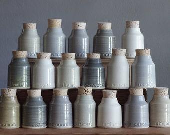 5 custom spice bottles. pottery jar with custom words. modern handmade pottery bottle. Various greys. read item details before ordering