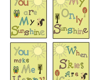 Set Of 4 8x10 You Are My Sunshine Woodland Owl Squirrel
