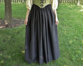Renaissance Skirt, BLACK, Womens One-Size-Fits-All S, M, L, XL