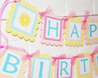 Lemonade banner, Pink Lemonade banner, lemonade and sunshine, happy birthday banner