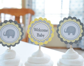 Welcome Baby toppers, set of 12,, elephant baby shower, yellow and grey, elephant accent-yellow and grey