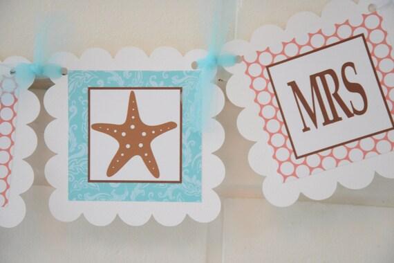 Soon to be Mrs banner, bridal shower banner, Beach theme Banner ...
