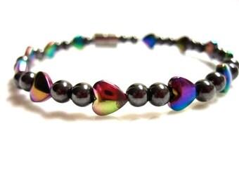Magnetic Hematite Bracelet, Rainbow Hearts, Magnetic Bracelet, Rainbow Magnetic Bracelet