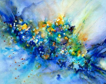 Large Giclee Art print 'Field of Dreams' abstract of watercolor painting, blue and yellow wall art, various sizes, by Victoria Kloch