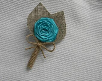 turquoise Flower burlap Boutonniere Wedding Boutonniere