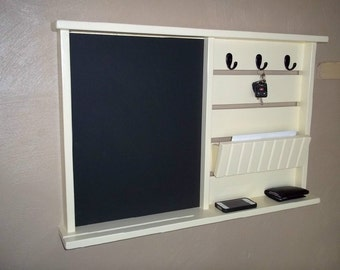 Mail organizer with Chalkboard , Wood Shelving  key hooks and shelf , wall shelf , storage , furniture