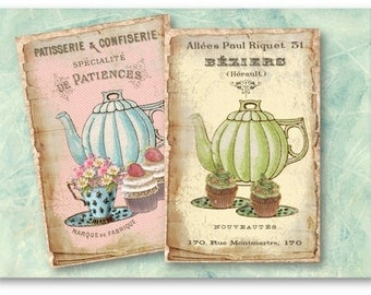 French Cupcakes Tea Party - Digital Collage Sheet Download 854 - Instant Download Printables