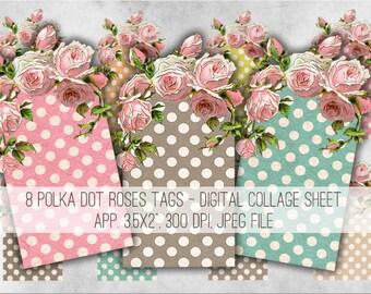 Digital Images - Digital Collage Sheet Download - Polka Dot Roses Tags -  967  - Digital Paper - Instant Download Printables