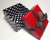 Red Top with Black Polka Dot Gift Boxes with Ribbon 2.25 X 3.5 inches Great for gift boxes, Organizers,Jewelry & Candy - HotRodJohnnyDesigns