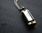 HAPPY CAMPER Miniature Working Silver Harmonica Necklace